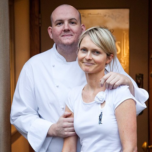 Steven Smith, Chef Patron at the Freemasons at Wiswell with front of house manager, Aga