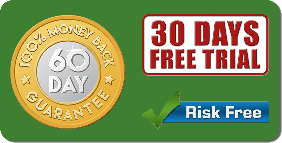 Risk free, 60 day moneyback guarnatee and 30 day trial